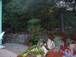 Xeriscape with rock wall and stone patio.