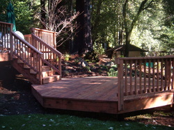 Rear wooden deck on residential home.