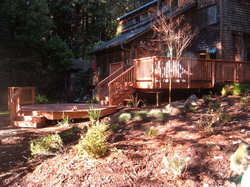 Back yard wooden deck, stairs, walkways and landscaping with rocks and shrubs.