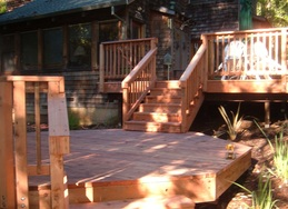 Wooden deck and stairs.