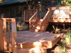 Two tiered wooden deck.
